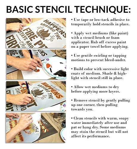Get Cozy & Stay Awhile Stencil by StudioR12 | Reusable Mylar Template | Use to Paint Wood Signs - Pallets - Pillows - DIY Home Decor - Select Size