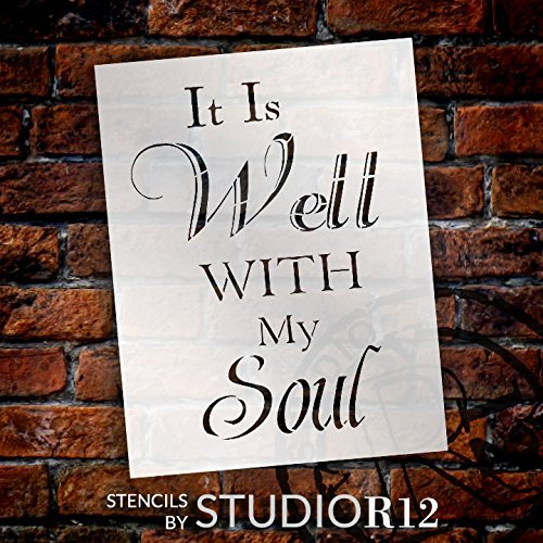 "It Is Well With My Soul - Word Stencil - 20"" x 30"" - STCL2056_5 - by StudioR12"