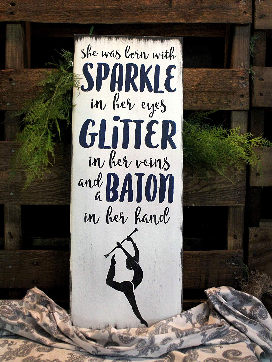 Sparkle Glitter Baton - Gymnast Stencil by StudioR12 | Reusable Mylar Template | Use to Paint Wood Signs - Pallets - Pillows - T-Shirts - DIY Girl Decor - Select Size