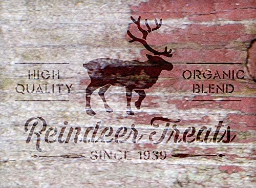 Reindeer Treats Organic Blend - by StudioR12 | Reusable Mylar Template | Use to Paint Wood Signs - Walls - Pallets - Pillows - DIY Home Christmas Decor - Select Size