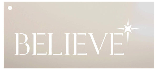 Believe with Star Stencil by StudioR12 | Reusable Mylar Template | Use to Paint Wood Signs - Pallets - Pillows - DIY Christmas Home Decor - Select Size