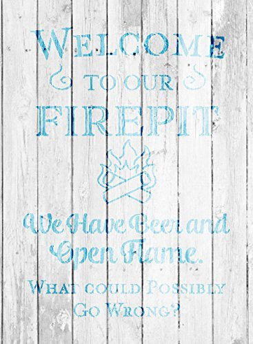 Welcome to Our Firepit - We Have Beer and Open Flame Stencil by StudioR12 | Reusable Mylar Template | Use to Paint Wood Signs | DIY Campfire Decor - Select Size
