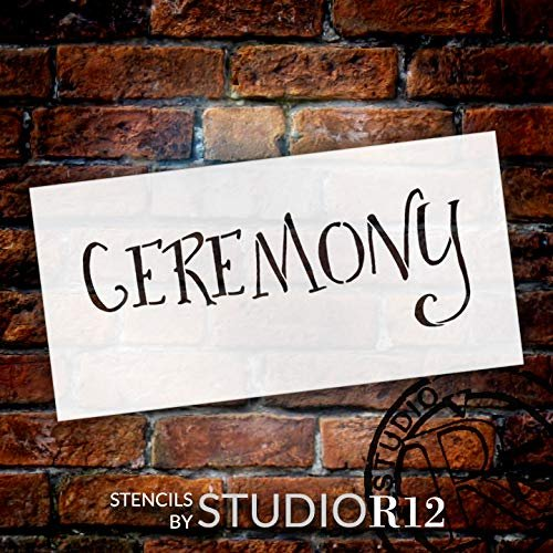 Wedding Sign Word - Ceremony - Fancy Funky Stencil by StudioR12 | Reusable Mylar Template | Use to Paint Wood Signs - Pallets - Pillows - DIY Wedding Decor - Select Size