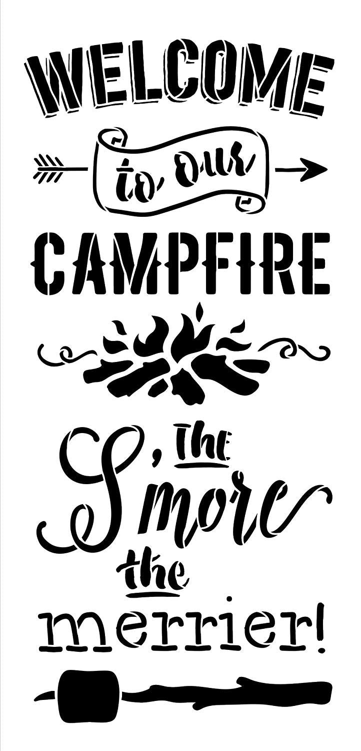 "Welcome to Our Campfire Stencil - The S'More The Merrier -with Arrows and Marshmallow by StudioR12 |for Painting on Wood Signs DIY Home Decor Porch Firepit Summer Fall Autumn |Select Size (9"" x 19"")"