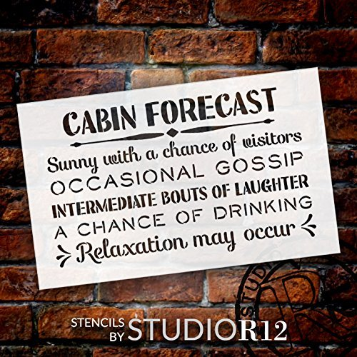 Cabin Forecast - Sunny with a Chance of Visitors Stencil by StudioR12 | Summer Outdoor Word Art - Reusable Mylar Template | Stencils for Painting Wood Signs | Front Door - Entry - Porch - SELECT SIZE