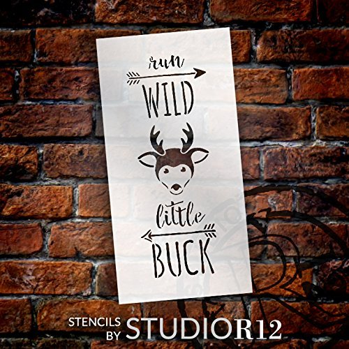 Run Wild Little Buck - Tall Woodland - Word Art Stencil - 5