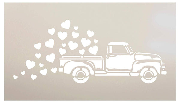 Old Truck Valentine Stencil - Hearts by StudioR12 | Reusable Mylar Template | Paint Wood Sign | Rustic Farmhouse Holiday | Craft DIY Vintage Home Decor | Select Size