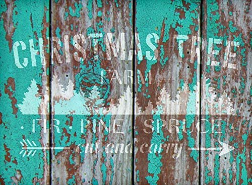 Christmas Tree Farm - Fir Pine Spruce Stencil - by StudioR12 | Reusable Mylar Template | Use to Paint Wood Signs - Pallets - DIY Christmas Season Decor - Select Size