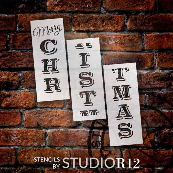 Merry Christmas Tall Porch Stencil by StudioR12 | 3 Piece | DIY Large Vertical Winter Holiday Home Decor | Front Door Entryway | Craft & Paint Wood Leaner Signs | Reusable Mylar Template | Size 6ft | STCL2014