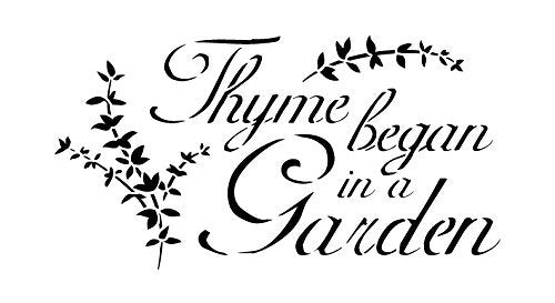 "Thyme Began In A Garden Stencil by StudioR12 | Elegant Herb Garden Word Art - Reusable Mylar Template | Painting, Chalk, Mixed Media | Use for Crafting, DIY Home Decor - STCL417 SELECT SIZE (7"" x 13"")"