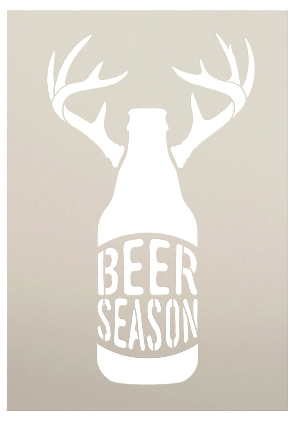 Beer Season Stencil with Bottle & Antlers by StudioR12 | DIY Country Hunting Home Decor for Man Cave or Rustic Bar & Kitchen | Paint Wood Signs | Reusable Mylar Template | Size 7