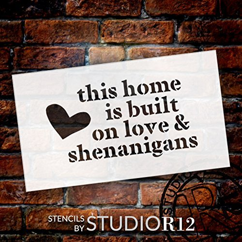 "Built On Love - With Heart - Word Art Stencil - 13"" x 8"" - STCL1873_3 - by StudioR12"