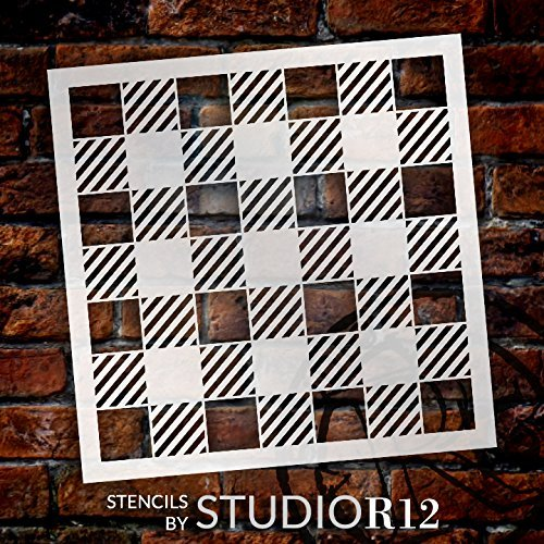 StudioR12 pattern and mixed Media stencil for painting wood signs  bullet journals