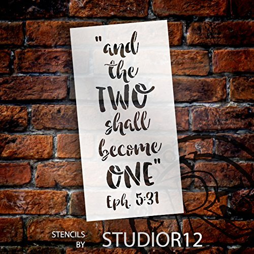 And the Two Shall Become One Stencil by StudioR12 | Wedding Word Art - Medium 6 x 12-inch Reusable Mylar Template | Painting, Chalk, Mixed Media | Use for Crafting, DIY Home Decor - STCL1580_1