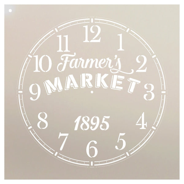 Round Clock Stencil - Farmers Market Words - Small to Extra Large DIY Painting on Wood for Farmhouse Country Home Decor Walls - Select Size | STCL2430