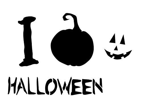 "I Love Halloween - Pumpkin - Word Art Stencil - 17"" x 11"" - STCL1277_3 by StudioR12"