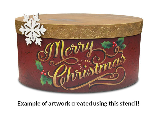 Merry Christmas Stencil by StudioR12 | Elegant Vintage Word Art - Reusable Mylar Template | Painting, Chalk, Mixed Media | Use for Journaling, DIY Home Decor - CHOOSE SIZE (18