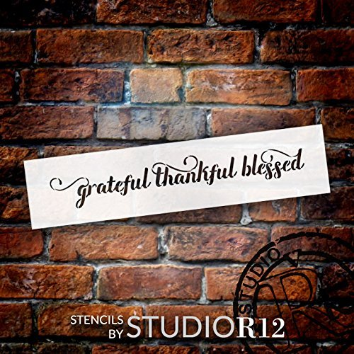 "Grateful Thankful Blessed - Elegant Script - 13"" x 3"" - STCL1829_1 - by StudioR12"