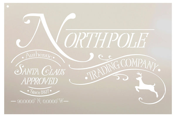 North Pole Trading Company Stencil by StudioR12 | Reusable Mylar Template | Use to Paint Wood Signs - Pallets - Front Door - Entry - Porch - DIY Christmas Decor - Select Size