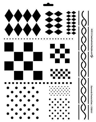 12-in-one Diamonds-Checks-Dots Stencil by StudioR12 | Basic Pattern Art - Large 11 x 14-inch Reusable Mylar Template | Painting, Chalk, Mixed Media | Use for Wall Art, DIY Home Decor - STCL152