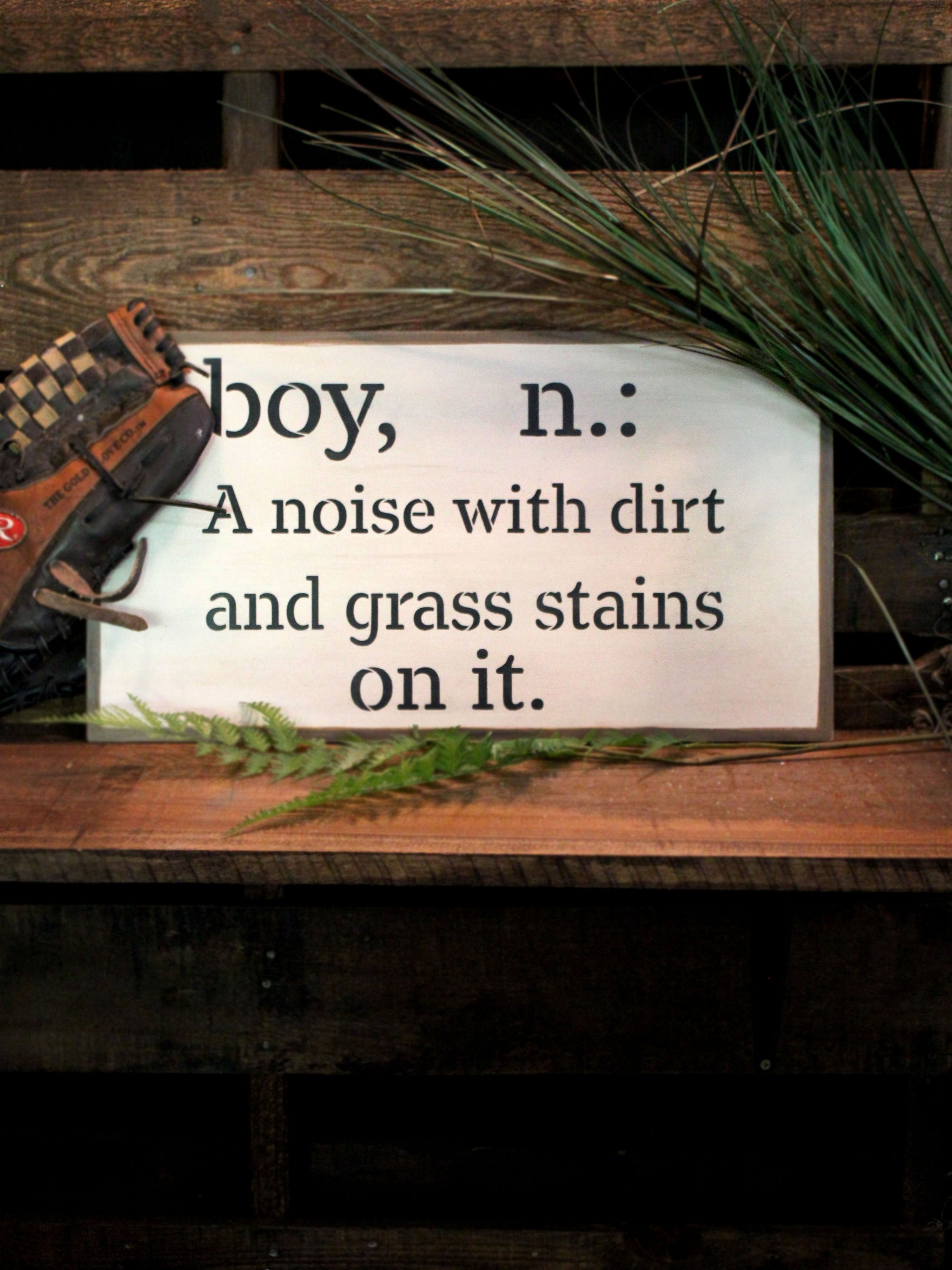 "Boy - Noise Dirt Stains - Word Stencil - 30"" x 20"" - STCL2170_5 - by StudioR12"