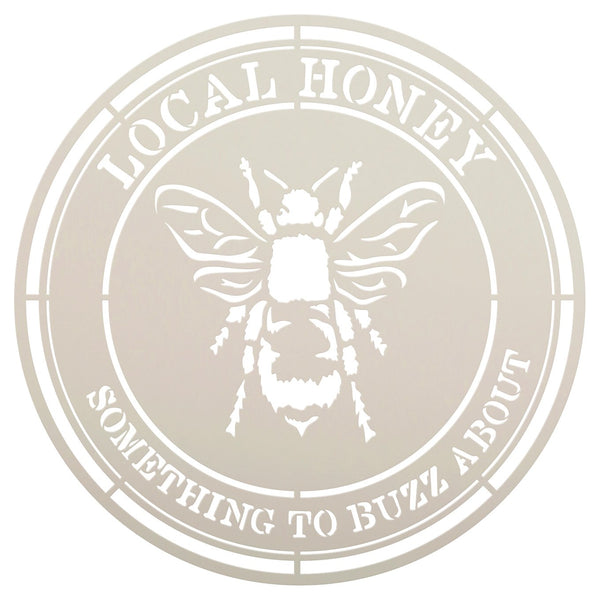 Local Honey Circle Stencil with Bee by StudioR12 | DIY Country Kitchen Home Decor | Craft & Paint | Reusable Template | Select Size | STCL3476