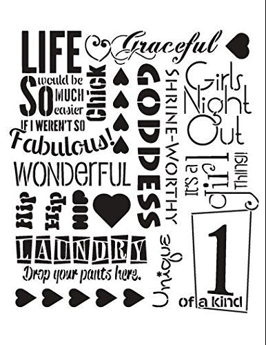 "It's A Girl Thing Stencil by StudioR12 | Fun and Amusing - Reusable Mylar Template | Painting, Chalk, Mixed Media | Wall Art, DIY Home Decor - STCL695 - SELECT SIZE (8.5"" x 11"")"