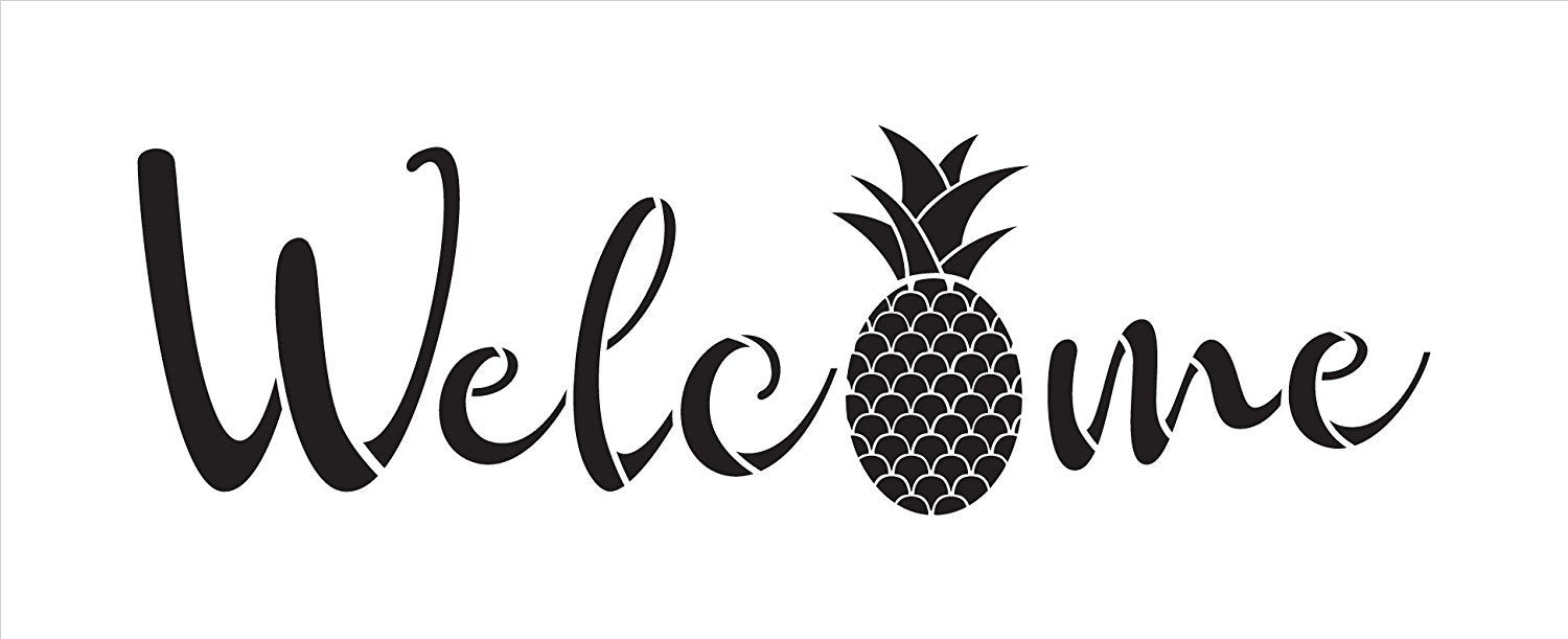 "Welcome Pineapple Stencil by StudioR12 | Reusable Mylar Template | Use to Paint Wood Signs - Wall Art - Front Door - Entry - Porch - DIY Home Decor - SELECT SIZE (30"" x 11"")"