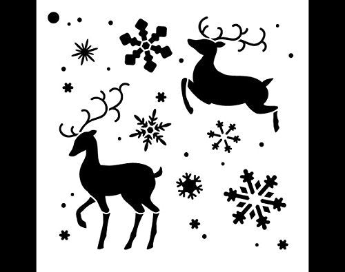 Reindeer Stencil by StudioR12 | Elegant Christmas Pattern Art - Small 6 x 6-inch Reusable Mylar Template | Painting, Chalk, Mixed Media | Use for Journaling, DIY Home Decor - STCL997_1