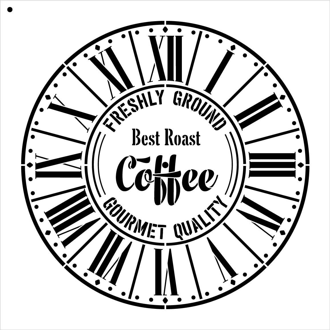 "Round Coffee Clock Stencil - Parisian Roman Numerals - DIY Painting Rustic Wood Clocks Small to Extra Large for Home Decor - Select Size (24"" (2 Parts))"
