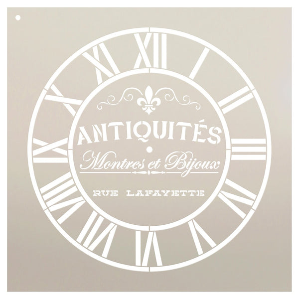 Round Clock Stencil - Industrial Roman Numerals - French Antique Words - DIY Paint Wood Clock Small to Extra Large Home Decor - Select Size | STCL2432