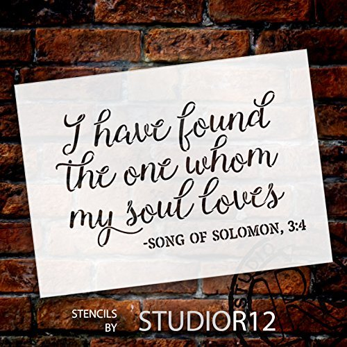 "I Have Found the One Stencil by StudioR12 | Wedding Scripture Word Art - Reusable Mylar Template | Painting, Chalk, Mixed Media | Use for Crafting, DIY Home Decor - CHOOSE SIZE … (17"" x 12"")"
