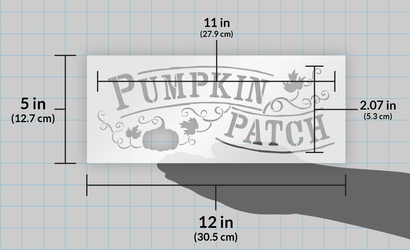 "Pumpkin Patch Stencil by StudioR12 | Hand-Drawn, Vines Word Art - Reusable Mylar Template | Painting, Chalk, Mixed Media | Use for Wall Art, DIY Home Decor - CHOOSE SIZE (12"" x 5"")"
