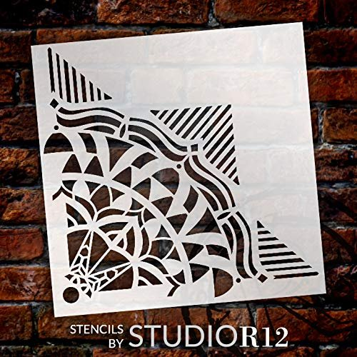 Mandala - Geometric - Quarter Design Stencil by StudioR12 | Reusable Mylar Template | Use to Paint Wood Signs - Pallets - Pillows - Wall Art - Floor Tile -