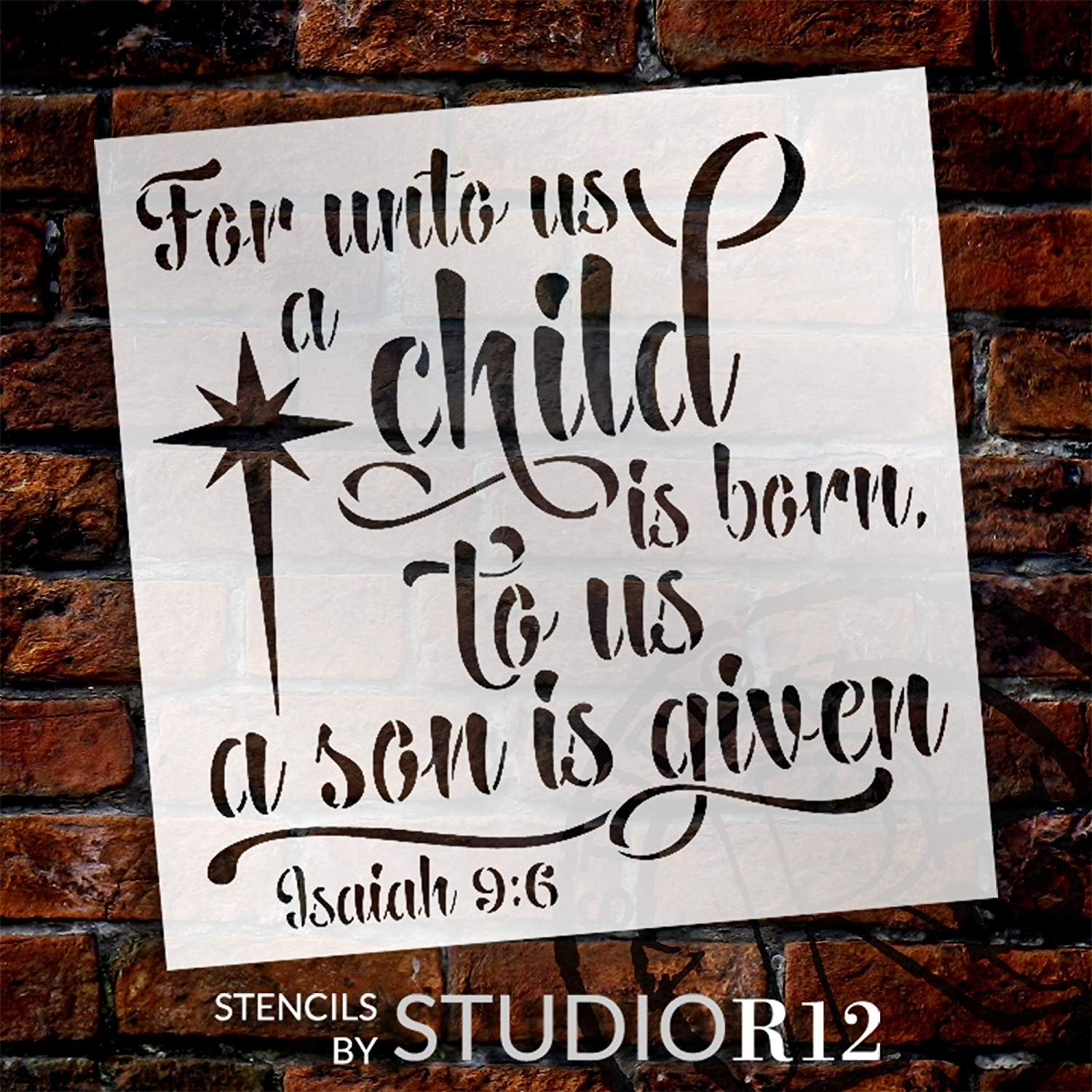 for Unto Us A Child is Born Stencil with Star StudioR12 | Christian Faith Bible Verse Isaiah 9:6 | DIY Christmas Holiday Home Decor | Paint Wood Signs | Reusable Mylar | Select Size