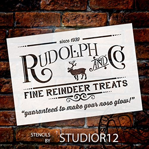 Rudolph and Co. Stencil by StudioR12 | Reindeer Treats Christmas Word Art - Reusable Mylar Template | Painting, Chalk | Use for Crafting DIY Christmas Signs for Holiday Decor - STCL1538_2