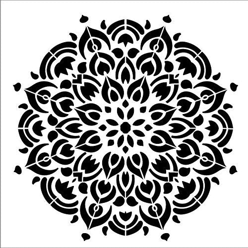 Mandala - Peacock - Complete Stencil by StudioR12 | Reusable Mylar Template | Use to Paint Wood Signs - Pallets - Pillows - Wall Art - Floor Tile - Select Size