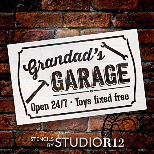 Grandad's Garage - Open 24/7 Sign Stencil by StudioR12 | Reusable Mylar Template | Use to Paint Wood Signs - Pallets - DIY Grandpa Gift - Select Size (25
