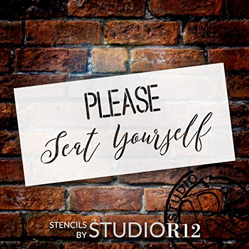 "Please Seat Yourself - Simple & Script - Word Stencil - 15"" x 7"" - STCL2159_1 - by StudioR12"