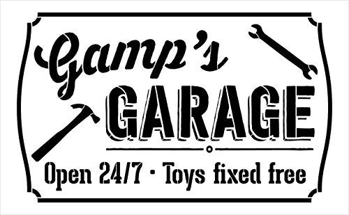 "Gamp's Garage - Open 24/7 Sign Stencil by StudioR12 | Reusable Mylar Template | Use to Paint Wood Signs - Pallets - DIY Grandpa Gift - Select Size (25"" x 16"")"