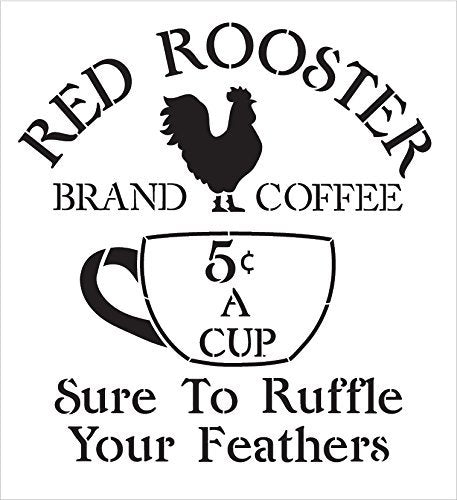 Coffee Sign Stencil by StudioR12 | Vintage Rooster Word Art - Reusable Mylar Template | Painting, Chalk, Mixed Media | Use for Crafting, DIY Home Decor - STCL1428_1 | Multiple Sizes Available