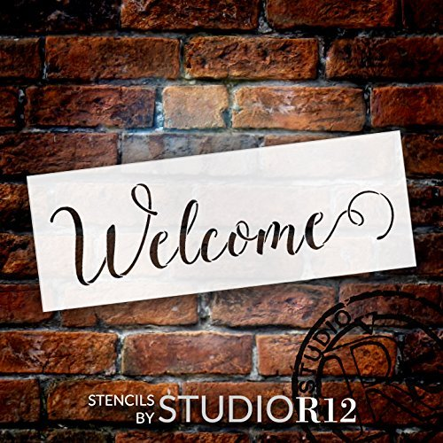 "Welcome Stencil by StudioR12 | Sunny Script Word Stencil - Reusable Mylar Template | Painting, Chalk, Mixed Media | Use for Wall Art, DIY Home Decor - STCL1438 - Select Size (13"" x 5"")"