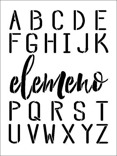 Elemeno Alphabet Stencil by StudioR12 | Reusable Mylar Template | Use to Paint Wood Signs - Plaques - Pallets - Pillows - DIY Personalization - Select Size | STCL2475