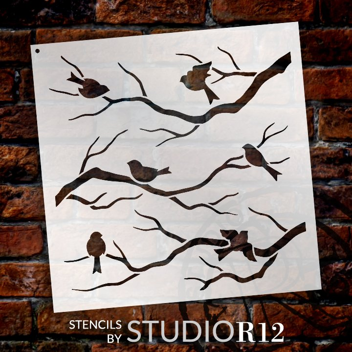 animal,   			                 Art Stencil,   			                 bird,   			                 birds,   			                 branch,   			                 country,   			                 Mixed Media,   			                 Multimedia,   			                 nature,   			                 outdoor,   			                 Pattern,   			                 spring,   			                 Stencils,   			                 Studio R 12,   			                 StudioR12,   			                 StudioR12 Stencil,   			                 Template,   			                 tree,