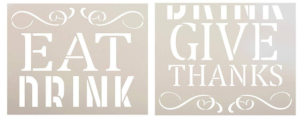Eat Drink Give Thanks Jumbo 2-Part Stencil by StudioR12 | DIY Thanksgiving Word Art & Fall Home Decor | Craft & Paint Autumn Oversize Wood Sign | Reusable Mylar Template | Extra Large | 24 x 36 inch | STCL2798_JUMBO