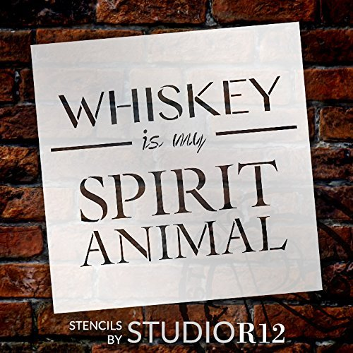 Whiskey Is My Spirit Animal Stencil by StudioR12 | Bar, Man Cave Word Art - Reusable Mylar Template | Painting, Chalk, Mixed Media | Use for Wood Sign, Wall Art, DIY Home Decor SELECT SIZE (15