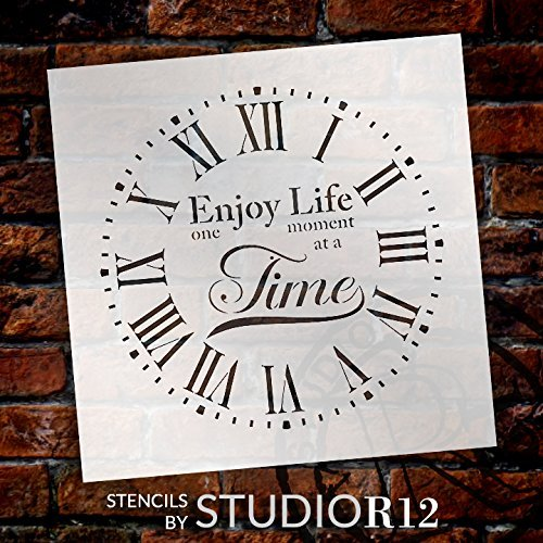 Round Clock Stencil Roman Numerals - Enjoy Life One Moment at a Time Letters - DIY Painting Farmhouse Country Home Decor Art - Select Size (22