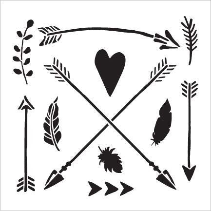Woodland Arrows & Symbols Stencil by StudioR12 | DIY Nursery | Nature Decor | Animal | Craft Home Decor | Reusable Mylar Template | Paint Wood Sign - Select Size