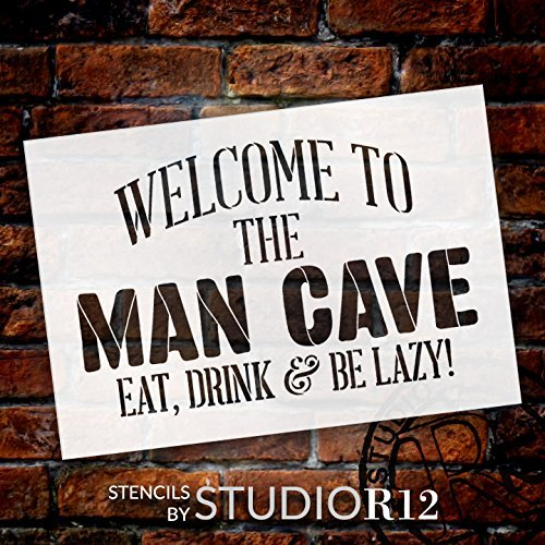 "Welcome - Man Cave - Word Stencil - 21"" x 15"" - STCL1890_4 - by StudioR12"