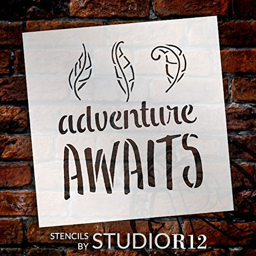 "Adventure Awaits - Curly Leaves - Word Art Stencil - 8"" x 8"" - STCL1775_2 - by StudioR12"